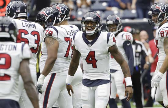 "<div class=""meta image-caption""><div class=""origin-logo origin-image ap""><span>AP</span></div><span class=""caption-text"">Houston Texans quarterback Deshaun Watson (4) calls a play during the second half of an NFL football game against the Jacksonville Jaguars Sunday, Sept. 10, 2017, in Houston. (David J. Phillip)</span></div>"