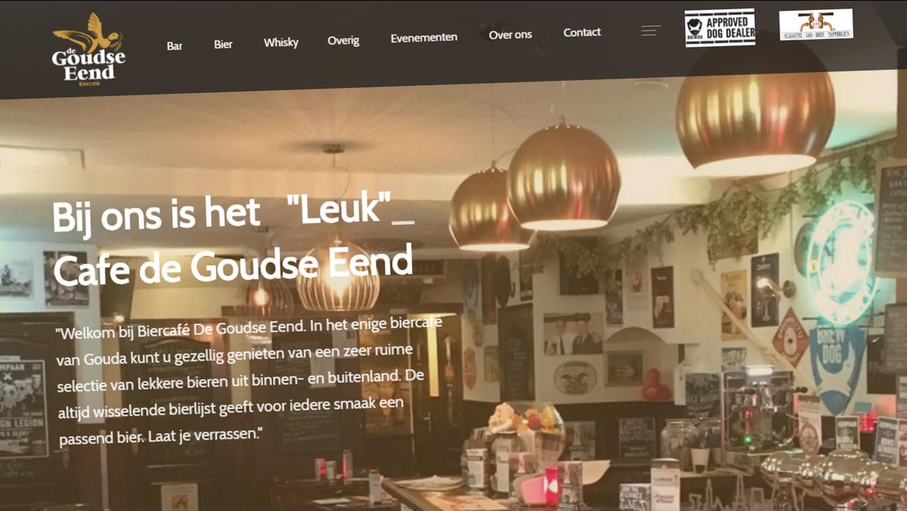 """Screenshot of """"de Goudse Eend"""" Cafe website"""