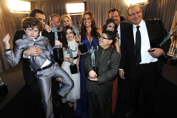 <div class='meta'><div class='origin-logo' data-origin='AP'></div><span class='caption-text' data-credit='AP'>The cast of &#34;Modern Family&#34; on Sunday, Jan. 30, 2011 in Los Angeles. (AP Photo/Matt Sayles)</span></div>