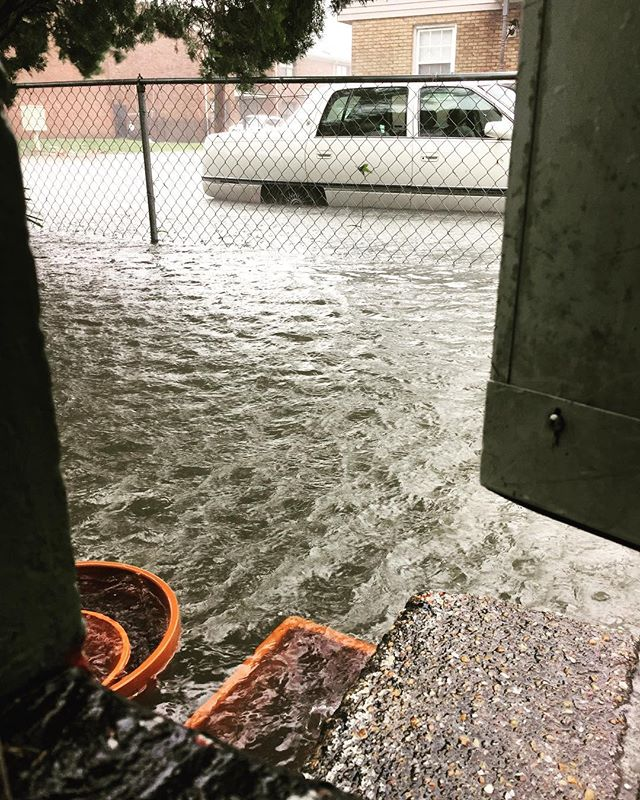 <div class='meta'><div class='origin-logo' data-origin='none'></div><span class='caption-text' data-credit='Katy Roberts/Instagram'>Flood waters lap up by the doors of a home in Charleston, S.C. on Monday.</span></div>