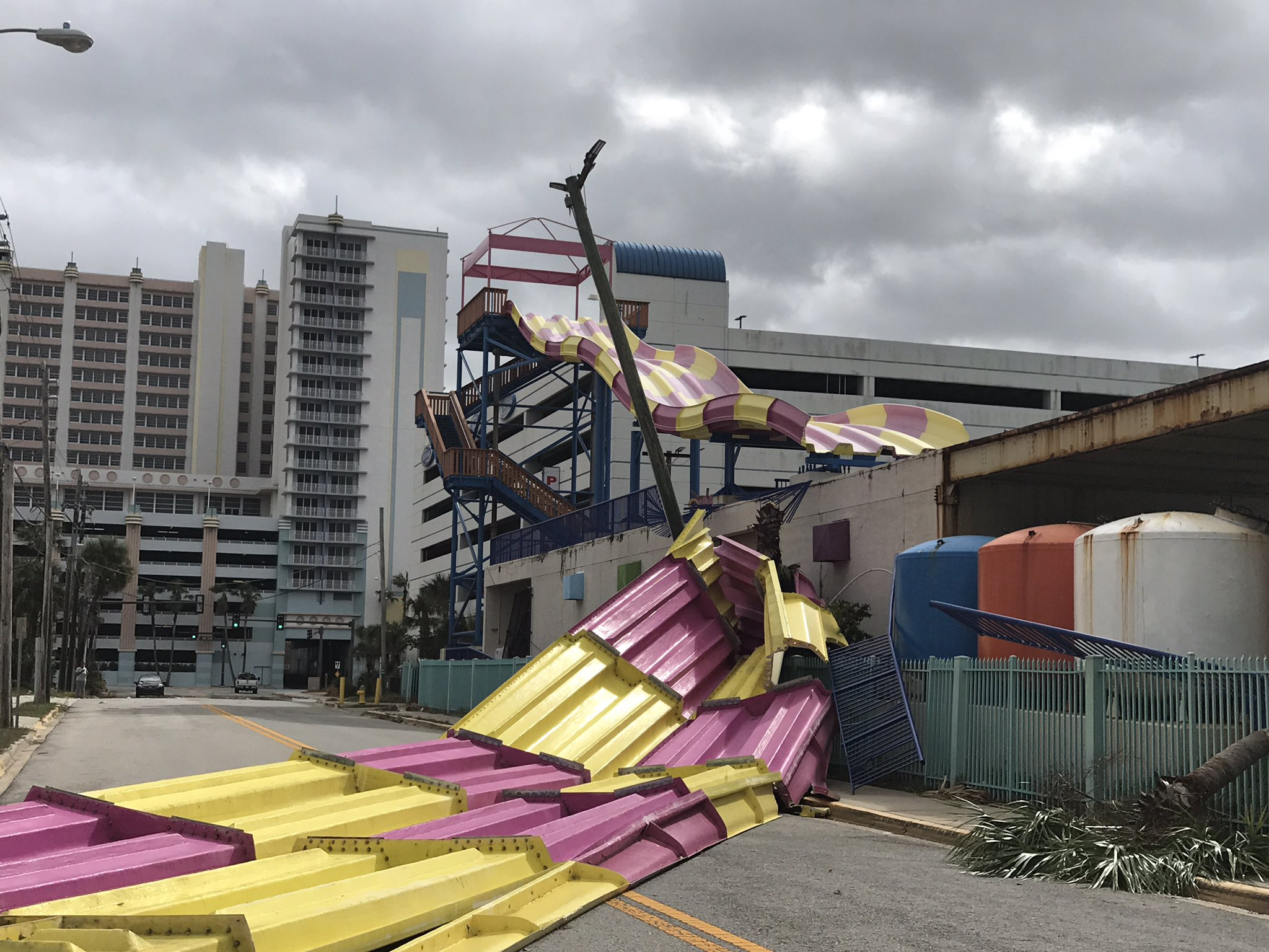 "<div class=""meta image-caption""><div class=""origin-logo origin-image none""><span>none</span></div><span class=""caption-text"">''The big slide at Daytona Lagoon didn't fare so well,'' wrote the city's police department. (Daytona Beach Police/Twitter)</span></div>"