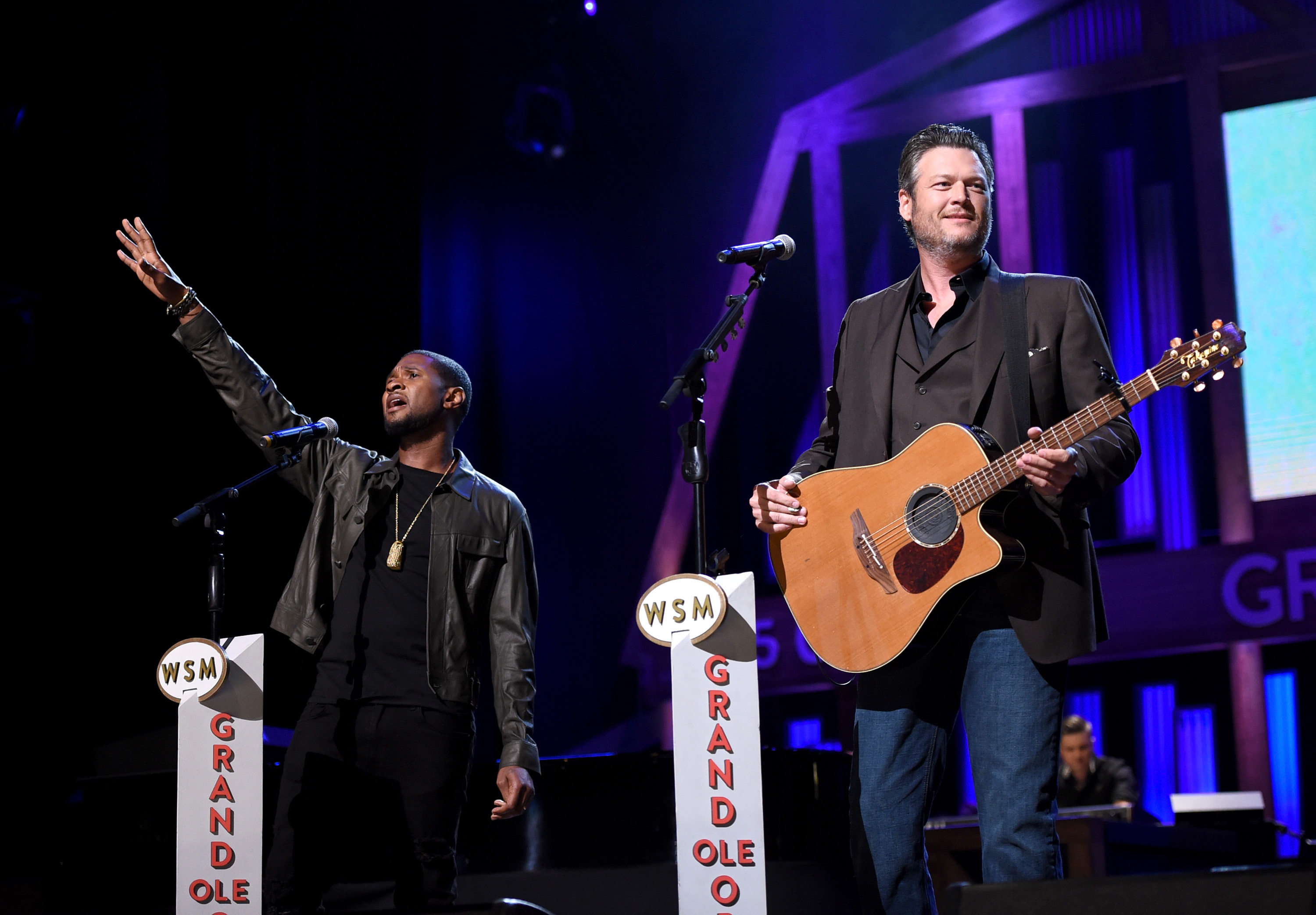 <div class='meta'><div class='origin-logo' data-origin='none'></div><span class='caption-text' data-credit='John Shearer/Hand in Hand/Getty Images'>Usher and Blake Shelton perform onstage during Hand in Hand: A Benefit for Hurricane Relief at the Grand Ole Opry House on September 12, 2017 in Nashville, Tennessee.</span></div>