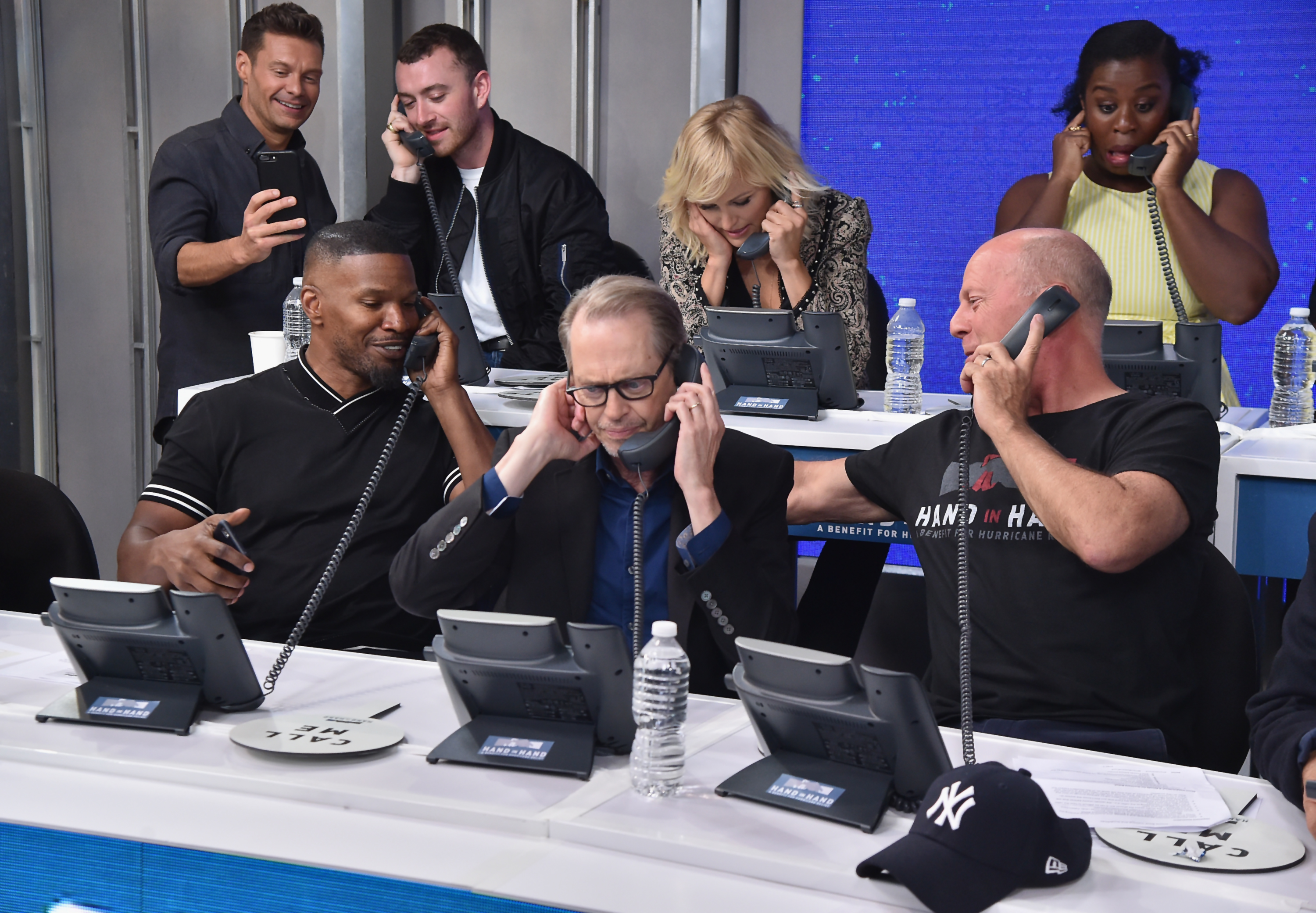<div class='meta'><div class='origin-logo' data-origin='none'></div><span class='caption-text' data-credit='Theo Wargo/Hand in Hand/Getty Images'>Sam Smith, Jamie Foxx, Steve Buscemi, and Bruce Willis caption at ABC News' Good Morning America Times Square Studio on September 12, 2017 in New York City.</span></div>