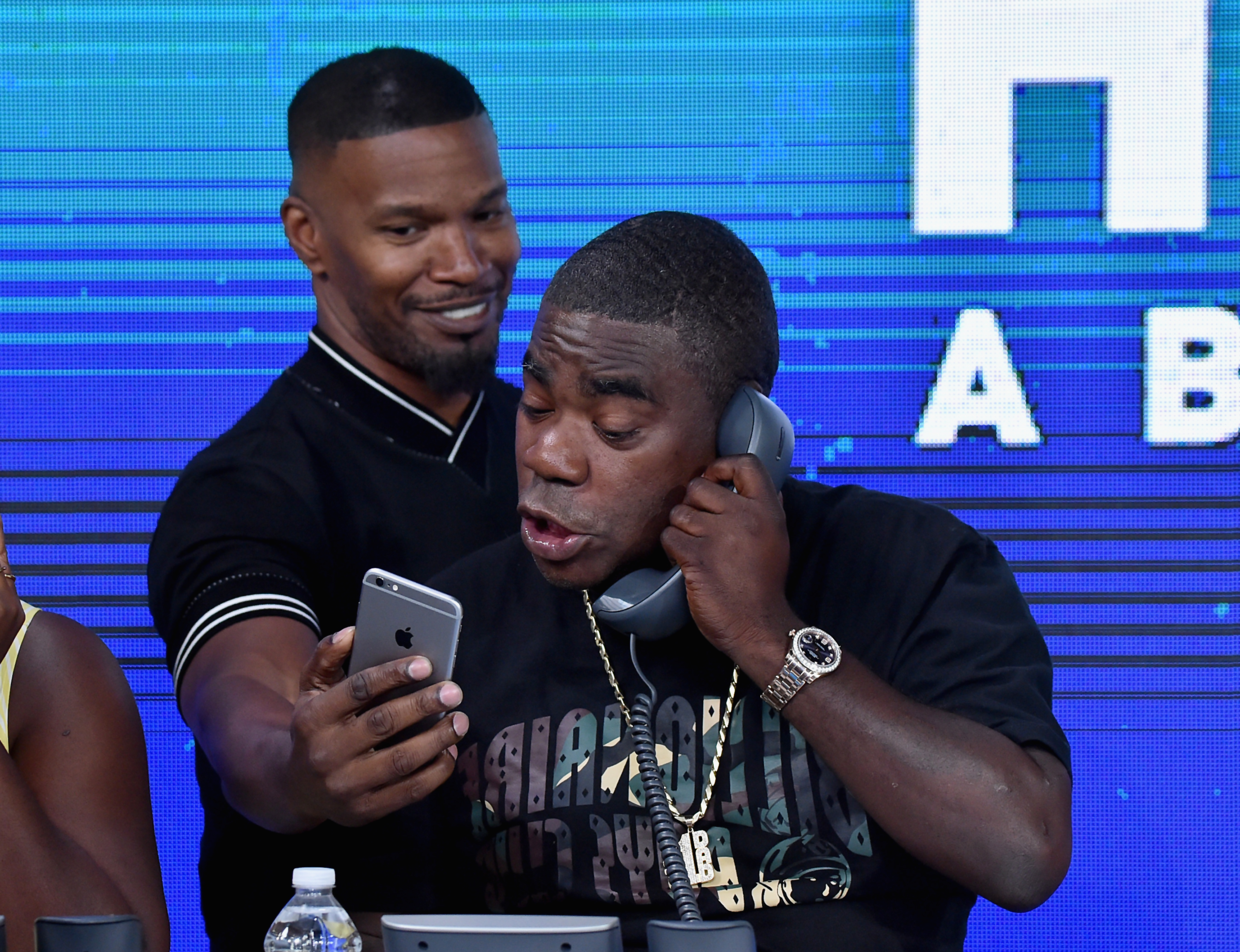 """<div class=""""meta image-caption""""><div class=""""origin-logo origin-image none""""><span>none</span></div><span class=""""caption-text"""">Jamie Foxx and Tracy Morgan attend the Hand in Hand benefit at ABC News' Good Morning America Times Square Studio in New York. (Theo Wargo/Hand in Hand/Getty Images)</span></div>"""