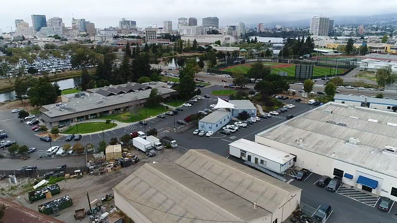 This drone image shows the proposed new site of the Oakland Athletics' stadium in Oakland, Calif. on Wednesday, Sept. 13, 2017.