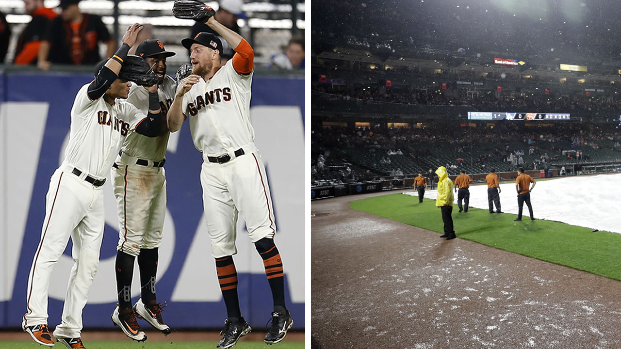 The San Francisco Giants rain delayed game ended at 2 a.m. on Tuesday, Sept. 12, 2017. The Orange and Black beat the L.A. Dodgers 8 - 6.