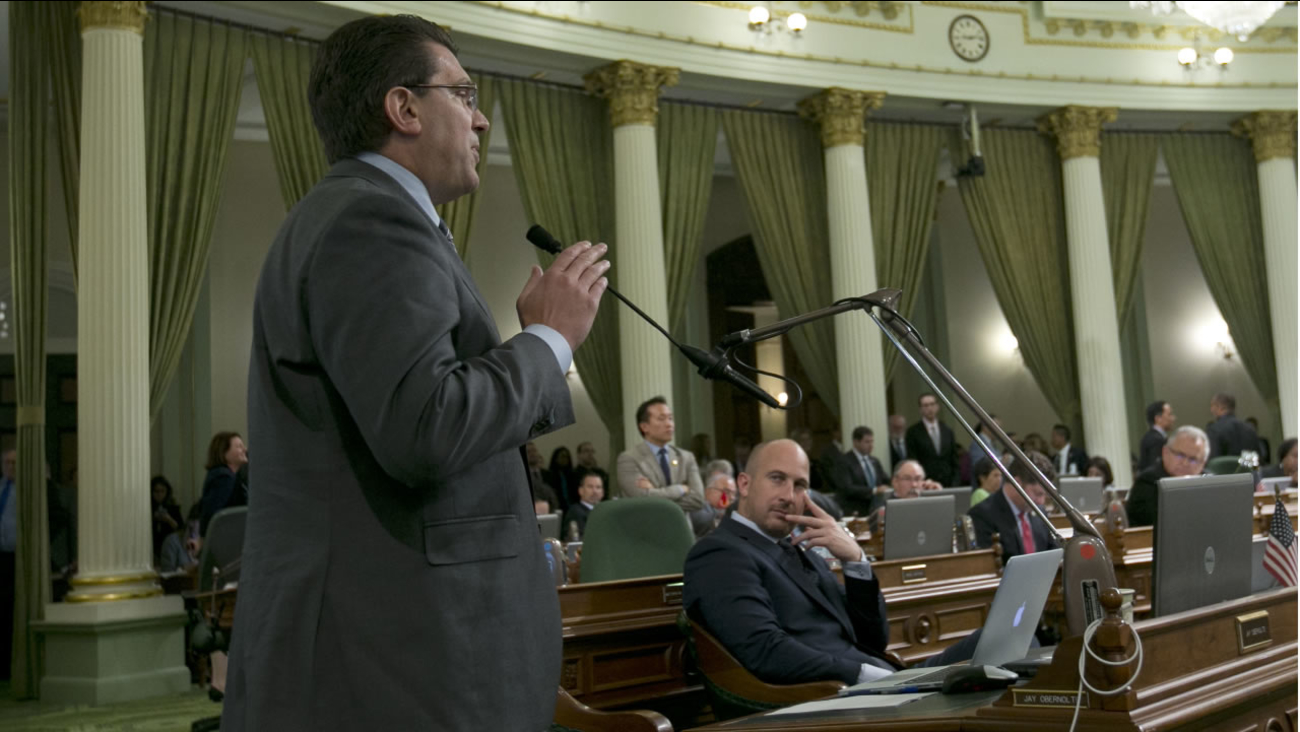 Assemblyman Jay Obernolte, R-Big Bear Valley, is seen speaking before the Assembly, Thursday, Sept. 14, 2017, in Sacramento, Calif.  (AP Photo/Rich Pedroncelli)
