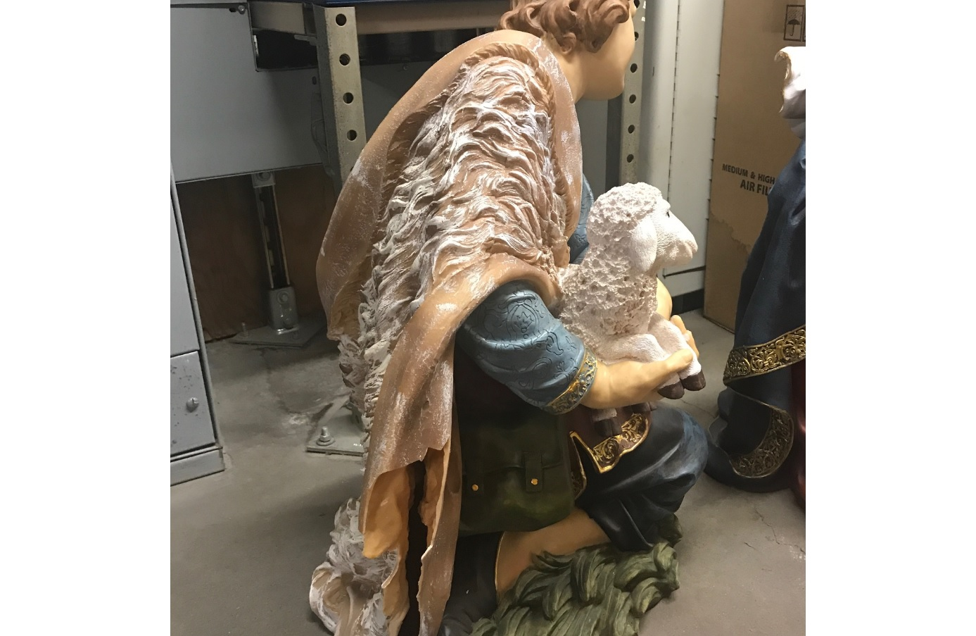 "<div class=""meta image-caption""><div class=""origin-logo origin-image none""><span>none</span></div><span class=""caption-text"">Basement broken into, nativity scene statues broken. (Photos provided by: Fresno attorney Michael Berdinella)</span></div>"
