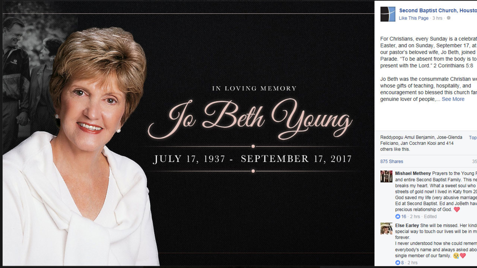Jo Beth Young, of Second Baptist Church, dead at 80