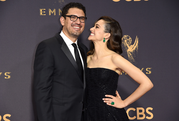 "<div class=""meta image-caption""><div class=""origin-logo origin-image wtvd""><span>wtvd</span></div><span class=""caption-text"">Sam Esmail, left, and Emmy Rossum arrive at the 69th Primetime Emmy Awards. (Richard Shotwell/Invision/AP)</span></div>"
