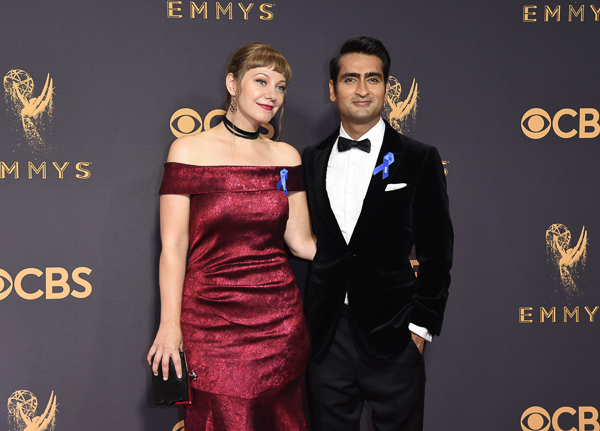 "<div class=""meta image-caption""><div class=""origin-logo origin-image wpvi""><span>wpvi</span></div><span class=""caption-text"">Emily V. Gordon, left, and Kumail Nanjiani arrive at the 69th Primetime Emmy Awards. (Richard Shotwell/Invision/AP)</span></div>"