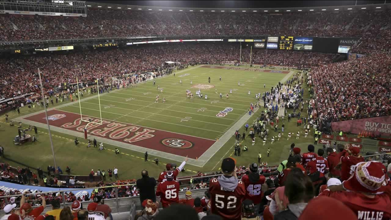 Fans at Candlestick Park during an NFL football game between the San Francisco 49ers and the Atlanta Falcons in San Francisco, Dec. 23, 2013. (AP Photo/Aaron Kehoe)