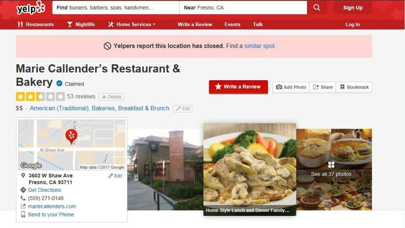 Marie Callender's Restaurant and Bakery closes Northwest Fresno