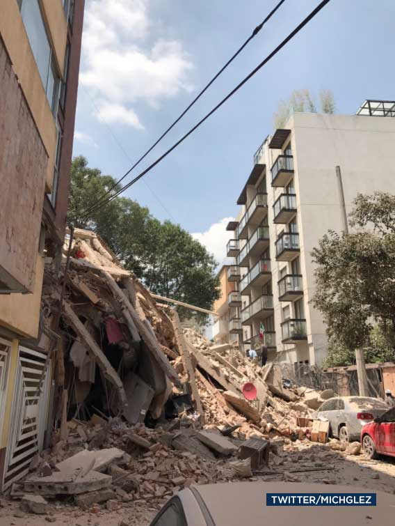 <div class='meta'><div class='origin-logo' data-origin='none'></div><span class='caption-text' data-credit='Twitter/michglez'>Debris is seen in the aftermath of a powerful earthquake to hit Mexico on Tuesday, Sept. 19, 2017.</span></div>