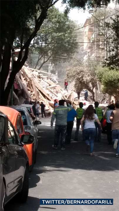 <div class='meta'><div class='origin-logo' data-origin='none'></div><span class='caption-text' data-credit='Twitter/bernardofarill'>Damage is seen in the aftermath of a powerful earthquake to hit Mexico on Tuesday, Sept. 19, 2017.</span></div>