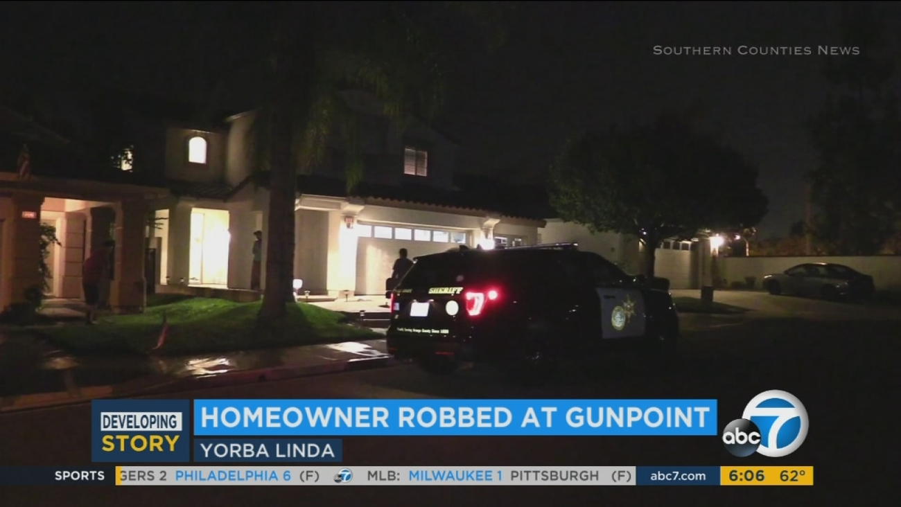 A Yorba Linda home where a man was robbed at gunpoint late Tuesday, Sept. 19, 2017.