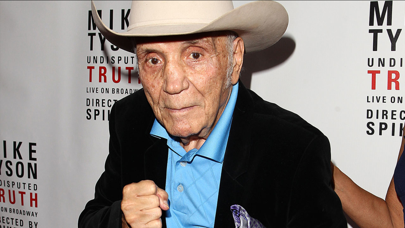 """Boxer Jake LaMotta is seen at the """"Mike Tyson: Undisputed Truth"""" event on Thursday, Aug 2, 2012 in New York."""
