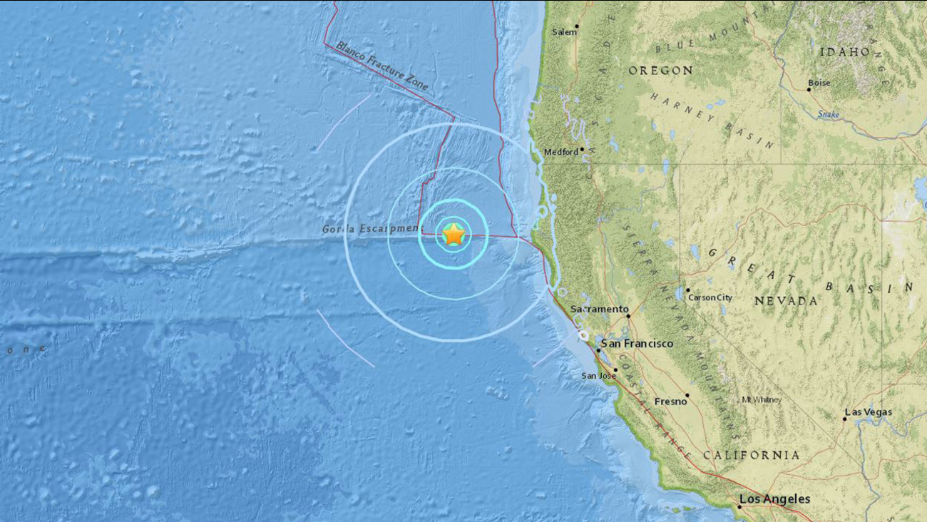 A preliminary magnitude 5.7 earthquake strikes off the coast of Ferndale in Northern California on Friday, Sept. 22, 2017.