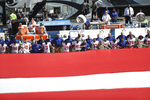 <div class='meta'><div class='origin-logo' data-origin='AP'></div><span class='caption-text' data-credit='AP Photo/Michael Perez'>New York Giants players and personnel stand for the national anthem before an NFL football game against the Philadelphia Eagles, Sunday, Sept. 24, 2017, in Philadelphia.</span></div>