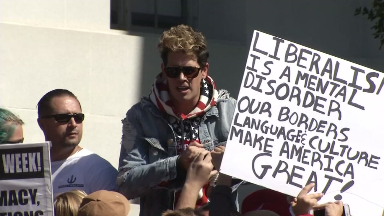 Milo Yiannopoulos is seen at U.C. Berkeley on Sunday, September 24, 2017.