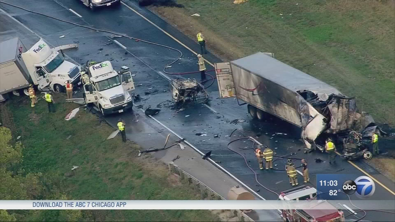 good samaritan saves driver on fire in fatal multi semi crash on i 80 in joliet abc7chicagocom