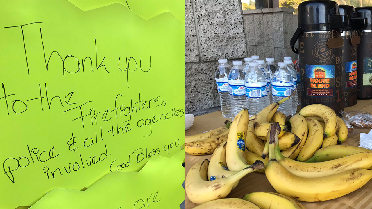 Firefighters and first responders were welcomed and were offered free breakfast and coffee on a table outside the Ralphs store.