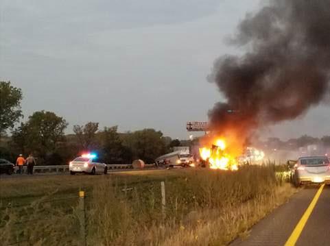 Good Samaritan saves driver on fire in fatal multi-semi crash on I