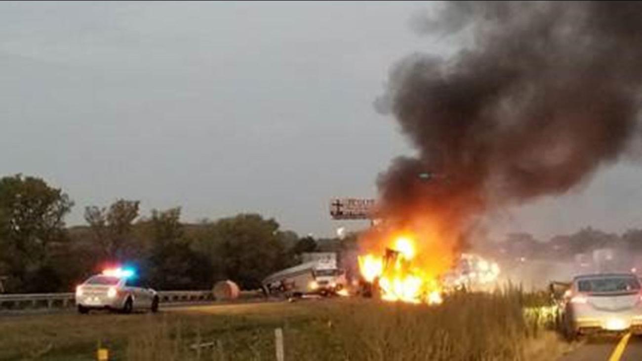 A fiery crash on Interstate 80 on Sept. 27, 2017.