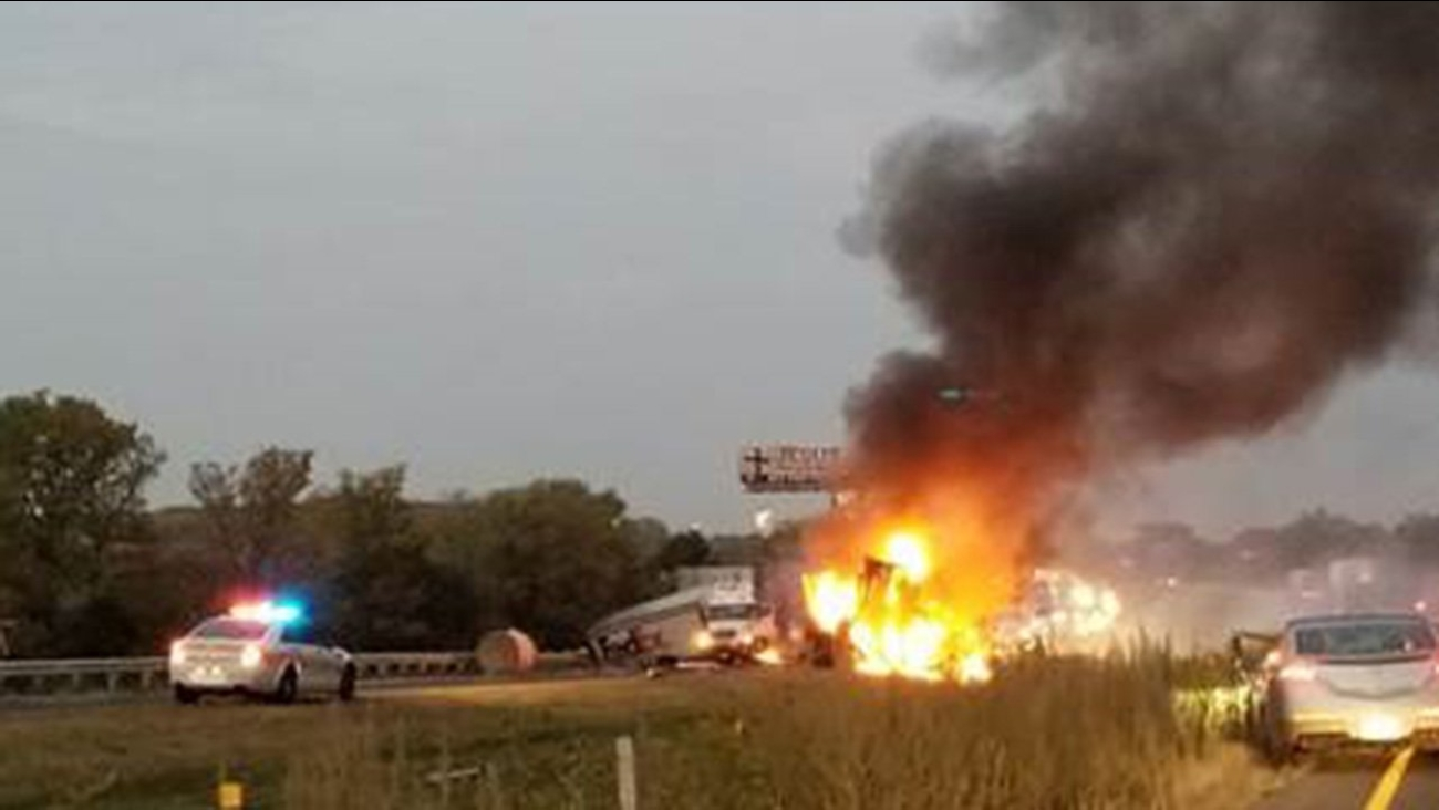 A fiery crash on Interstate 80 on Sept. 27, 2017.