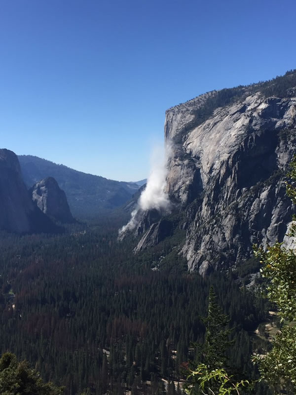 A rock slide is shown at Yosemite National Park on Wednesday, Sept. 27, 2017.
