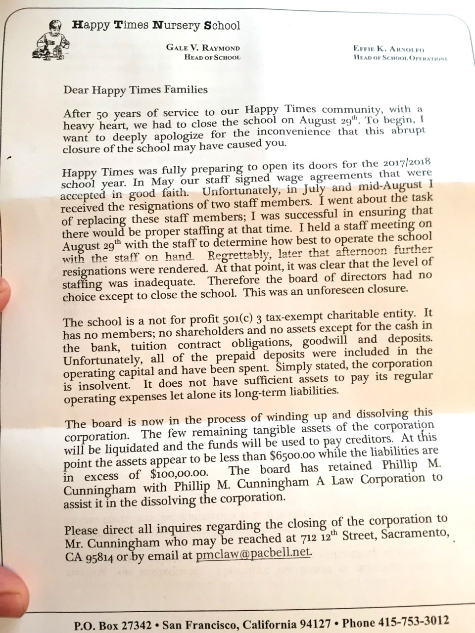 This image taken Thursday, Sept. 28, 2017 shows a letter sent from Happy Times Nursery School to parents in San Francisco.
