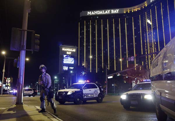 <div class='meta'><div class='origin-logo' data-origin='AP'></div><span class='caption-text' data-credit='AP'>Police officers stand along the Las Vegas Strip the Mandalay Bay resort and casino during a shooting near the casino, Sunday, Oct. 1, 2017, in Las Vegas. (AP Photo/John Locher)</span></div>