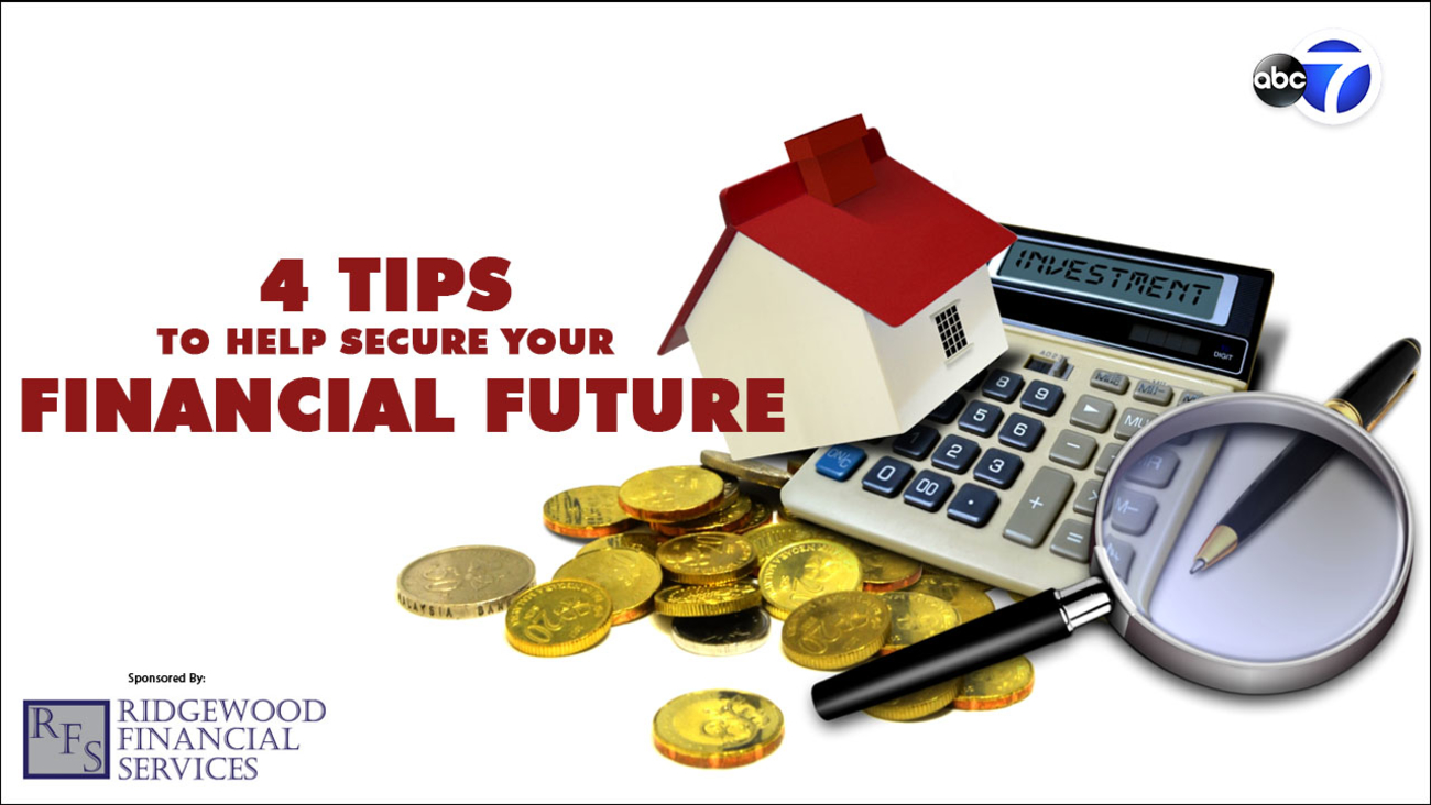 The words 4 Tips to help secure your financial future, with an image of a calculator, gold coins, a pen, a toy house and a magnifying glass.