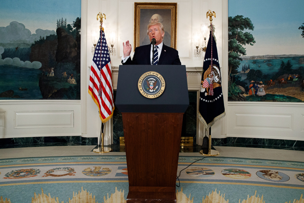 <div class='meta'><div class='origin-logo' data-origin='AP'></div><span class='caption-text' data-credit='AP'>President Donald Trump makes a statement about the mass shooting in Las Vegas, Monday, Oct. 2, 2017 at the White House in Washington.</span></div>