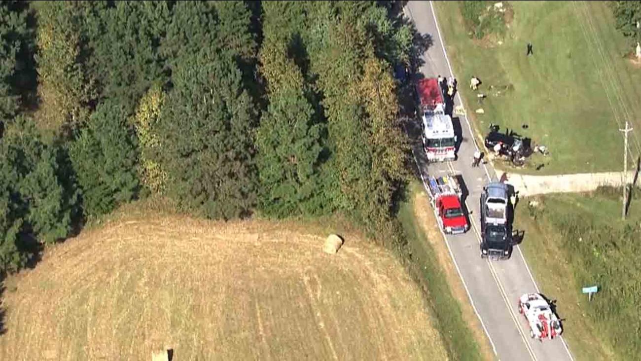 ABC11 Chopper HD over the scene of the crash