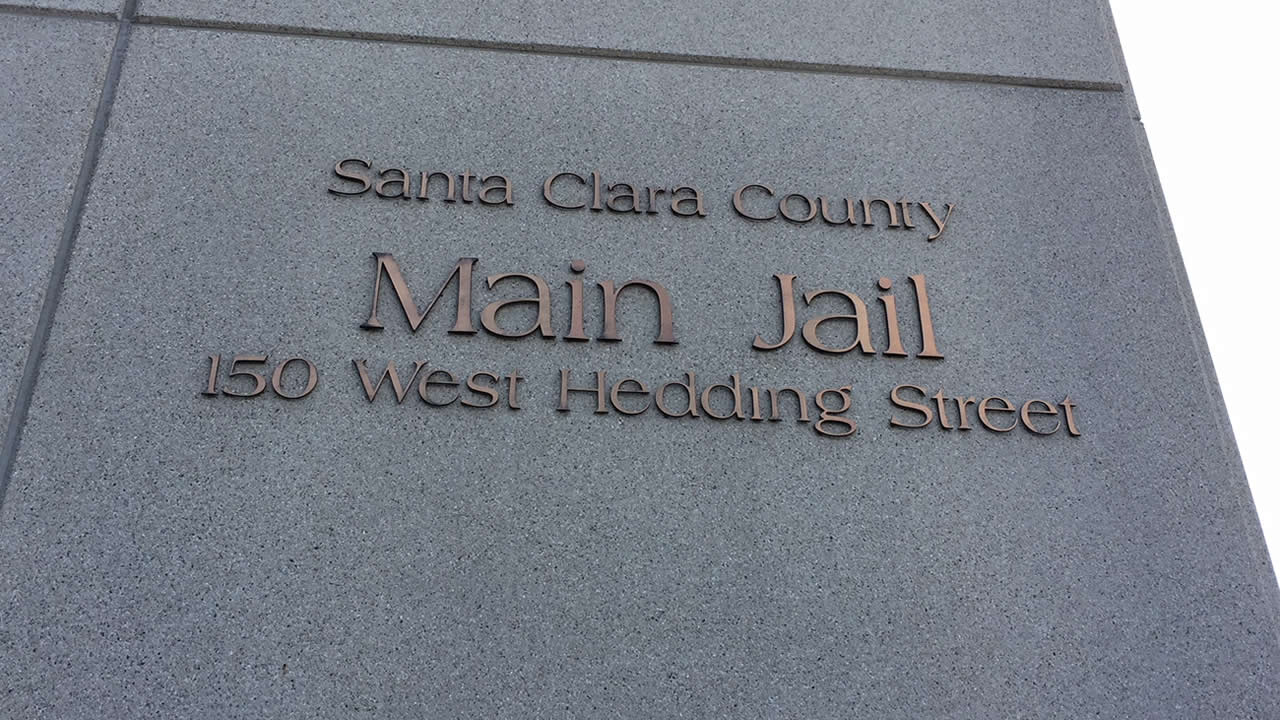 A sign for the Santa Clara County Main Jail in San Jose, Calif. is seen on Tuesday, Oct. 3, 2017.