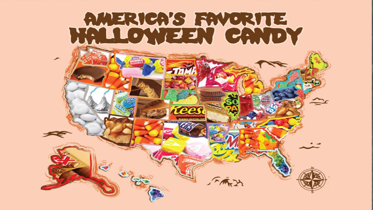 Here's a map of the top-selling Halloween candies in every state