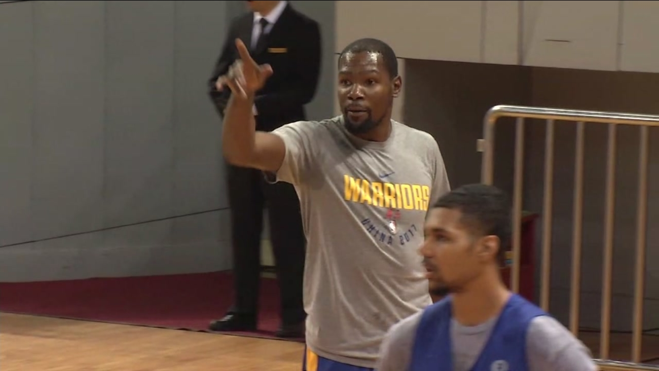 Golden State Warrior Kevin Durant is seen in Shenzhen, China on Wednesday, October 4, 2017.