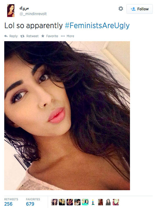 "<div class=""meta image-caption""><div class=""origin-logo origin-image ""><span></span></div><span class=""caption-text"">The arrival of a new hashtag, #FeministsAreUgly, has feminists around the world posting selfies on Twitter, repurposing the word 'ugly' to mean something beautiful. (_mindinrevolt / Twitter)</span></div>"