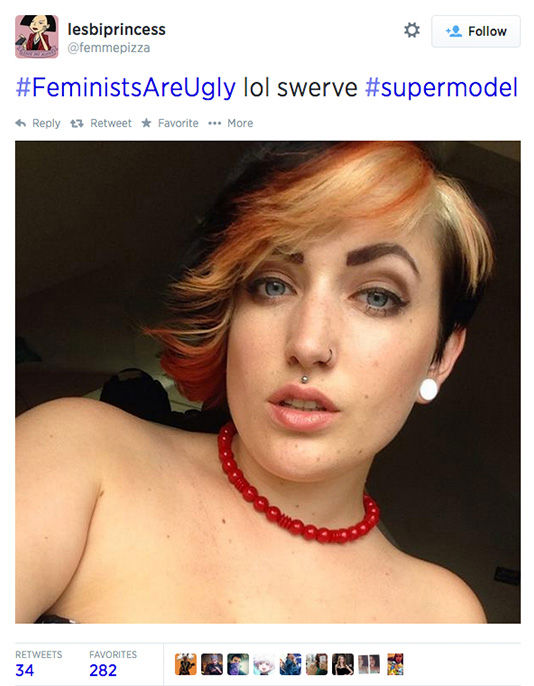 "<div class=""meta image-caption""><div class=""origin-logo origin-image ""><span></span></div><span class=""caption-text"">The arrival of a new hashtag, #FeministsAreUgly, has feminists around the world posting selfies on Twitter, repurposing the word 'ugly' to mean something beautiful. (femmepizza / Twitter)</span></div>"