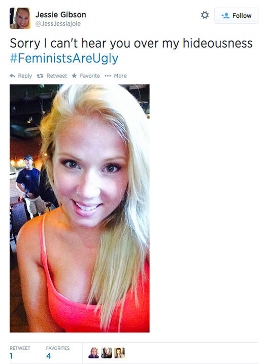 "<div class=""meta image-caption""><div class=""origin-logo origin-image ""><span></span></div><span class=""caption-text"">The arrival of a new hashtag, #FeministsAreUgly, has feminists around the world posting selfies on Twitter, repurposing the word 'ugly' to mean something beautiful. (JessJesslajoie / Twitter)</span></div>"