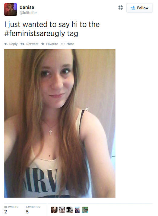 "<div class=""meta image-caption""><div class=""origin-logo origin-image ""><span></span></div><span class=""caption-text"">The arrival of a new hashtag, #FeministsAreUgly, has feminists around the world posting selfies on Twitter, repurposing the word 'ugly' to mean something beautiful. (lolitcifer / Twitter)</span></div>"