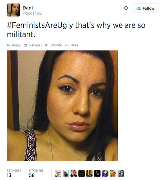 "<div class=""meta image-caption""><div class=""origin-logo origin-image ""><span></span></div><span class=""caption-text"">The arrival of a new hashtag, #FeministsAreUgly, has feminists around the world posting selfies on Twitter, repurposing the word 'ugly' to mean something beautiful. (xodanix3 / Twitter)</span></div>"