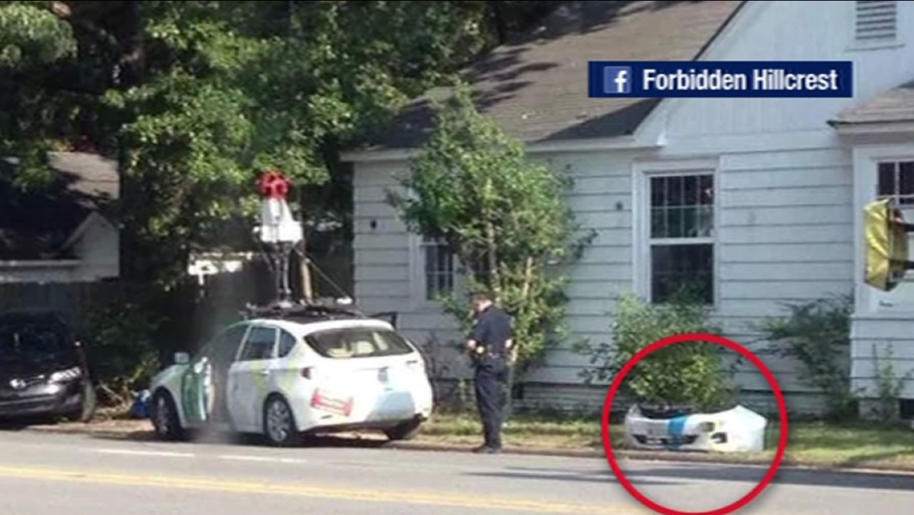 A Google Street View car crashes into another car in Arkansas