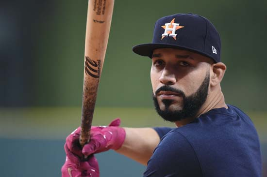 <div class='meta'><div class='origin-logo' data-origin='AP'></div><span class='caption-text' data-credit='Eric Christian Smith'>Houston Astros left fielder Marwin Gonzalez, right, takes batting practice before Game 1 of baseball's American League Division Series against the Boston Red Sox.</span></div>