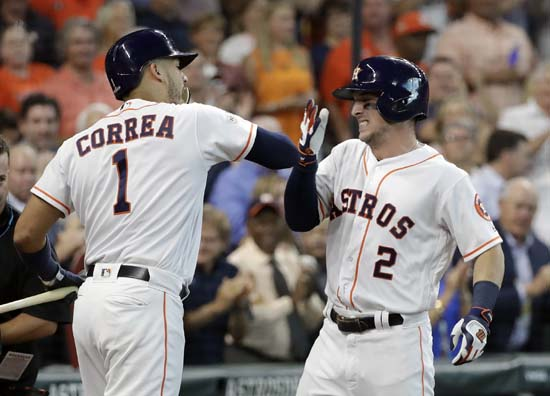 <div class='meta'><div class='origin-logo' data-origin='AP'></div><span class='caption-text' data-credit='David J. Phillip'>Houston Astros' Jose Altuve (2) celebrates his home run with teammate Carlos Correa (1) during the first inning in Game 1 of baseball's American League Division Series.</span></div>
