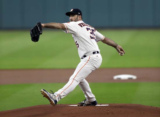 <div class='meta'><div class='origin-logo' data-origin='AP'></div><span class='caption-text' data-credit='Eric Gay'>Houston Astros starting pitcher Justin Verlander delivers a pitch against the Boston Red Sox in Game 1 of baseball's American League Division Series, Thursday, Oct. 5, 2017.</span></div>