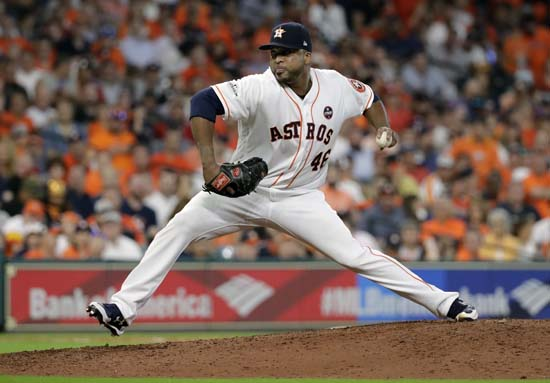 <div class='meta'><div class='origin-logo' data-origin='AP'></div><span class='caption-text' data-credit='David J. Phillip'>Houston Astros relief pitcher Francisco Liriano (46) delivers against the Boston Red Sox during the eighth inning in Game 1 of baseball's American League Division Series.</span></div>