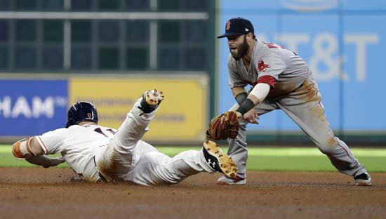 <div class='meta'><div class='origin-logo' data-origin='AP'></div><span class='caption-text' data-credit='David J. Phillip'>Houston Astros' Evan Gattis is safe at second base with a double as Boston Red Sox second baseman Dustin Pedroia (15) is late with the tag during the fourth inning in Game 1.</span></div>