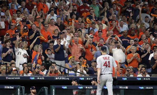 <div class='meta'><div class='origin-logo' data-origin='AP'></div><span class='caption-text' data-credit='David J. Phillip'>Fans react as Boston Red Sox starting pitcher Chris Sale (41) is pulled from the baseball game in the sixth inning in Game 1 against the Houston Astros.</span></div>